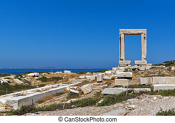 Apollo Temple Entrance, Naxos - Panoramic view of Portara,...