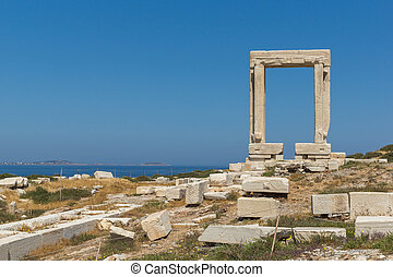Apollo Temple Entrance, Naxos - Close up view of Portara,...