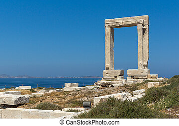 Apollo Temple Entrance, Naxos - Seascape with Portara,...