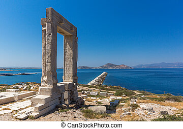 Apollo Temple Entrance, Naxos - Landscape of Portara, Apollo...