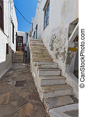 Old town of Chora town, Naxos - Small street in the fortress...