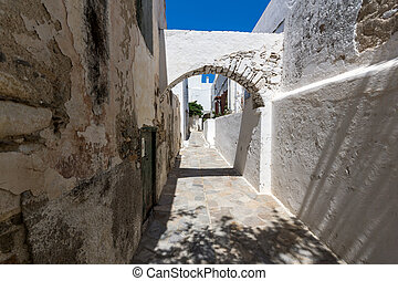 Old town of Chora town, Naxos - Small street in Chora town,...