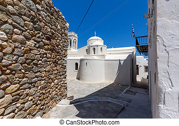 Catholic church in Naxos - Catholic church and Square in the...