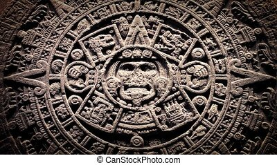 Mayan Stone Seal With Dust Floating - Ancient Mayan calendar...