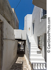 white houses in Chora town, Naxos - Street and white houses...