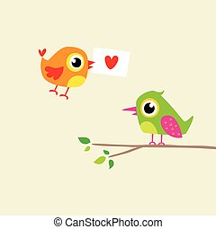 love bird couple with letter