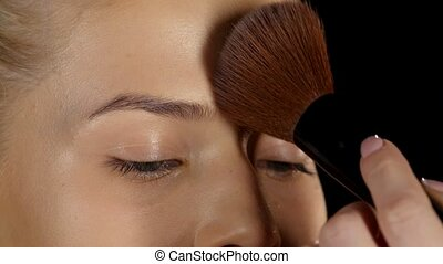 Professional makeup. Powder. Closeup - Application of powder...