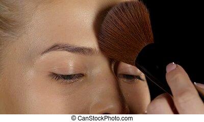 Professional makeup. Powder. Closeup