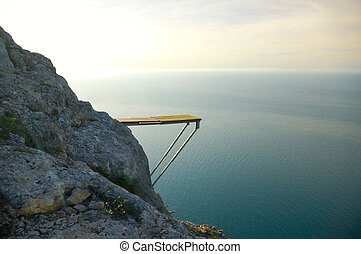 Extreme sports - Springboard for a diving from a rock.