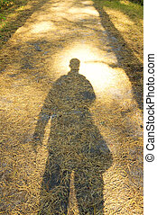 shadow of Young Man standing alone in forest outdoor with...