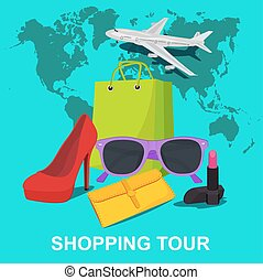 shopping tour concept, vector illustration