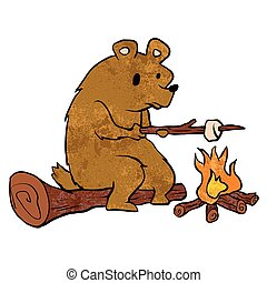 bear roasting marshmallows.Vector illustration