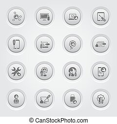 Repair Service and Maintenance Icons Set. Grey Button Design...