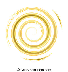 Golden watercolor spiral, elements for design, vector...