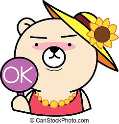 Cartoon bear with ok sign illustration