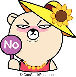 Cartoon bear with No Sign illustration