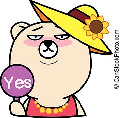 Cartoon bear with Yes Sign