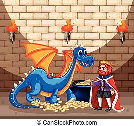 King and blue dragon with gold coins illustration