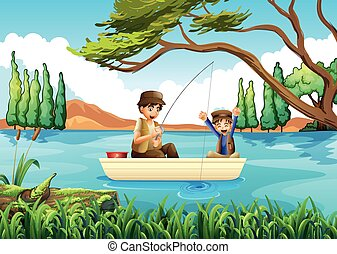 Father and son fishing in the lake