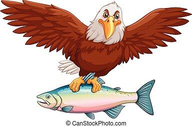 águia, peixe, voando, garras