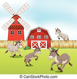 Donkeys in the farmyard illustration