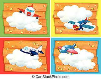Banner design with airplanes in the sky