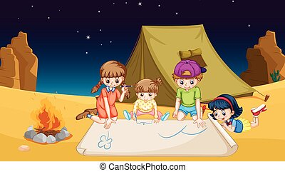 Children camping out in the desert illustration