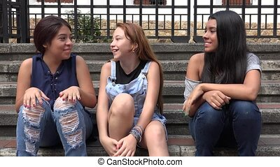 Teen Girls Laughing And Having Fun
