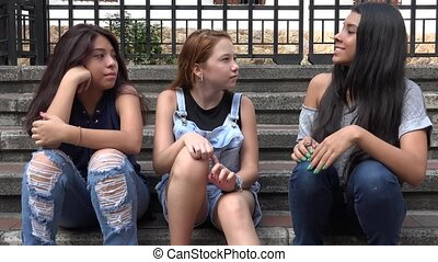 Teen Girls Talk And Agree