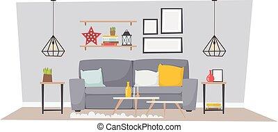 Cabin interior vector illustration - Luxurious open floor...