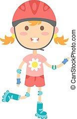 Roller girl vector illustration - Cute girl in roller skates...