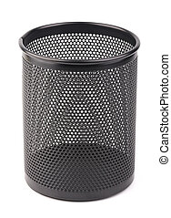 Metal Pen Pot - A black metal pen pot is isolated on white...