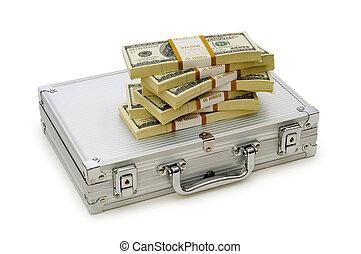 dinero, caso, aislado, blanco