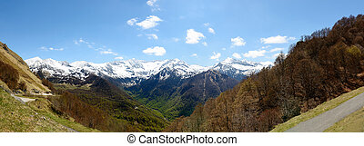 panorama of mountain landscape in the Pyrenees, France