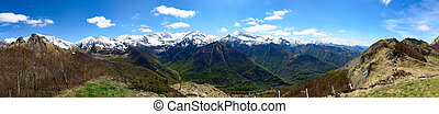 panorama of mountain landscape in the Pyrenees, France -...