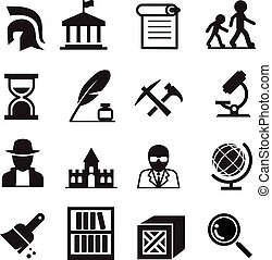History and archaeology icons - History archaeology icons...