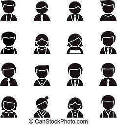 Silhouette User , man, woman Icon set Vector