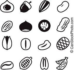 nuez, iconos, vector, Ilustración, Conjunto, 2,