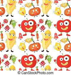Seamless background with fruits and veggies