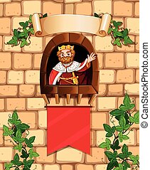 King standing on the castle tower illustration