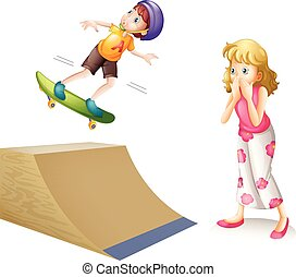 Boy skateboarding on wooden ramp illustration