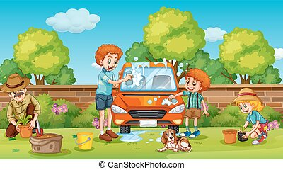 Father and son cleaning car in the yard