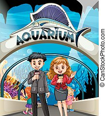 Reporters doing story at the aquarium illustration