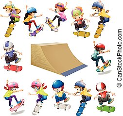 Boys and girls skateboarding on the ramp illustration