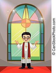 Priest doing church service in the church illustration