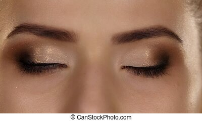 Makeup. Professional makeup. Closeup - Two eyes, eyeshadow...