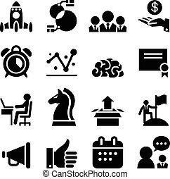Startup business icon set