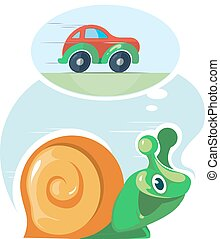 Fast speedy snail dreams to move as the cars. Moving...