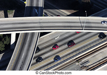 Ramp Aerial - Los Angeles freeway aerial light