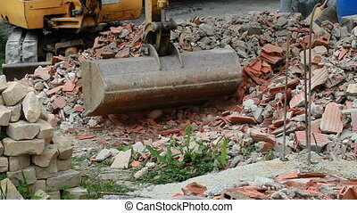 Bulldozer Bucket Loading - Loading Damaged Bricks and...